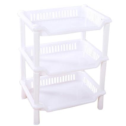820295cd3103 AmyDong Storage Box,Clearance Bathroom Shelf 3 Tier Plastic Corner  Organizer Bathroom Caddy Shelf Kitchen Storage Rack Holder (White)
