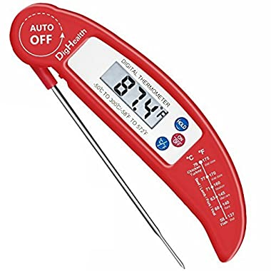 Digital Cooking Food Thermometer by DigHealth(TM) for Barbecue/BBQ/Kitchen/ Meat /Baking/Candy, Instant Read, Accurate, with High-Performing Probe and Internal Temperature Chart