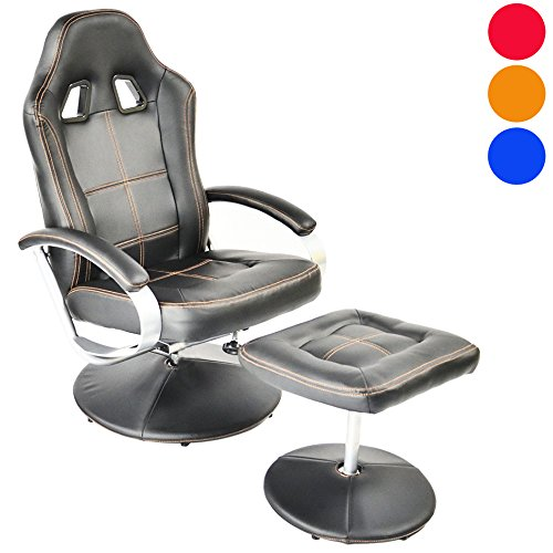 Charles Jacobs Executive Recliner Gaming Chair, Racing Style High Back Support, Swivel Faux Leather Armchair with Matching Footstool (Black/Orange Stitching)
