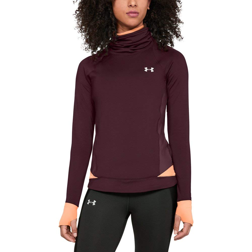 Under Armour Women's Coldgear Reactor Run Funnel, Dark Maroon (600)/Reflective, Small