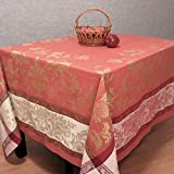 100% Linen Jacquard Tablecloth French Motive, Red/Gold (67 x 98 inch)