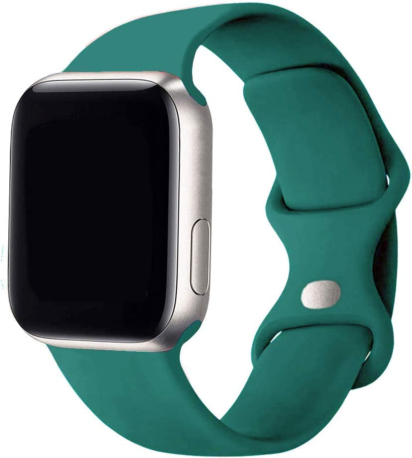 SexHope Silicone Replacement Bands Compatible with Apple Watch 38mm 40mm 42mm 44mm SE, Series 6/5/ 4/3/2/1 (Pine Green, 38mm/40mm S/M)