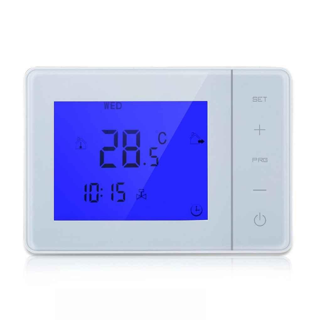 Elenxs Controlador Programable 5A caldera de calefacció n del termostato digital LCD de pantalla tá ctil Temperatura Ambiente