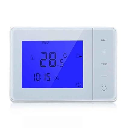 Elenxs Controlador Programable 5A caldera de calefacción del termostato digital LCD de pantalla táctil Temperatura Ambiente