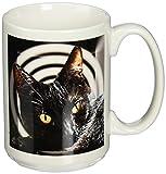 3dRose Black Cats Spell Ceramic Mug, 15-Ounce