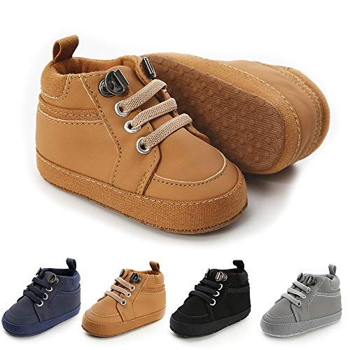 Meckior Toddler Baby Boys Girls High Tops Ankle Sneakers Soft Anti-Slip Sole PU Leather Moccasins Infant Newborn Prewalker First Walking Crib Shoes