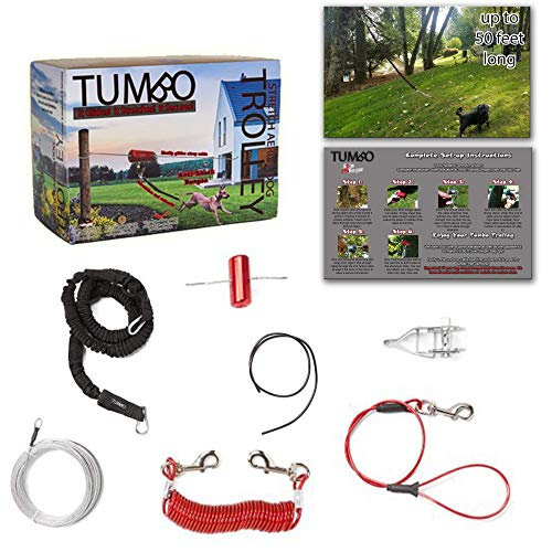 (Tumbo Trolley Dog 50 ft Containment System - Stretching Coil Cable with Anti-Shock Bungee (Safer and Less tangles) Aerial Dog Tie Out )