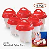 #9: FashionMall Kitchen Egg Cooker (pack of 6), Premium Silicone Eggs Maker, Get Hard Boiled Eggs without the Egg Shell