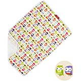PVC FREE Duckery Kid Waterproof Baby Diaper Changing Pocket Pad in Vibrant Color for Home and Travel (Owl Print)