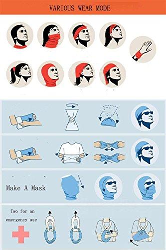 WOVTE Seamless Multi Function Skull Tube Tubular Half Face Mask Headband Headwear Bandana Neck Warmer Black