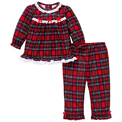 Little Me Girls' Holiday 2 Piece Holiday Pajamas, Red Plaid, 18M
