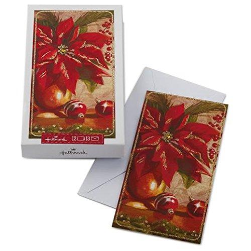 Poinsettia Hallmark (Hallmark - Red Poinsettia Still Life Painting Boxed Christmas Cards)