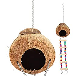 Yosoo Coconut Husk Parrot Birds Nest Swing Bed Cave Toys with Ladder Natural Happy House Pet Supplies