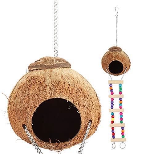 Yosoo Huhushop Jaula de Pájaros de Cama Columpio Cueva Juguetes con Escalera Linterna de Cáscara de Coco Nido Natural...