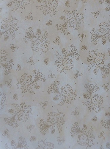 Maywood Accent - In Stitches by Maywood Studio~Brown Flowers on Tan~Cotton Fabric Floral