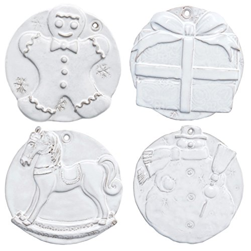 Vietri Bellezza Holiday Assorted Seasonal Ornaments, S/4 (Vietri Ornaments Christmas)
