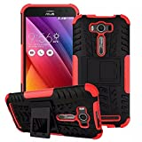 Asus Zenfone 2 Laser ZE500KL Case [iCoverCase] Heavy Duty Armor Hybrid [Dual Layer] KIickstand Back Holster Shockproof Cover Protecive Case for Asus Zenfone 2 Laser ZE500KL (Red)