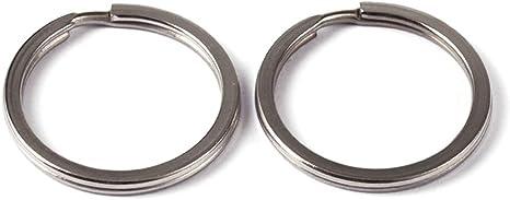 30x 25mm Split Circle Round Meta lRings Steel Nickel Double Loop Keyring Lanyard