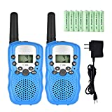 Walkie Talkies for Kids, 22 Channel 2 Way Radios Up to 3 Miles Rechargeable Walkie Talkies Long Range FRS/GMRS Walky Talky with Charger and Rechargeable Batteries (Blue, Pack of 2)