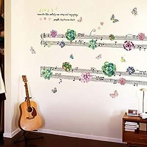 Succulent Music Sheet Bedroom Living Room TV Sofa Wall Sticker