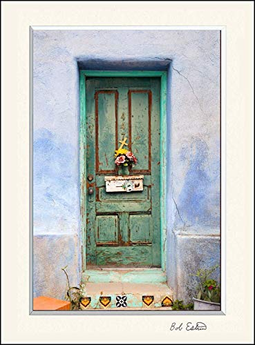 11 x 14 inch mat including photograph of colorful American Southwest painted green door with flowers mailbox and cross on adobe blue wall. ()