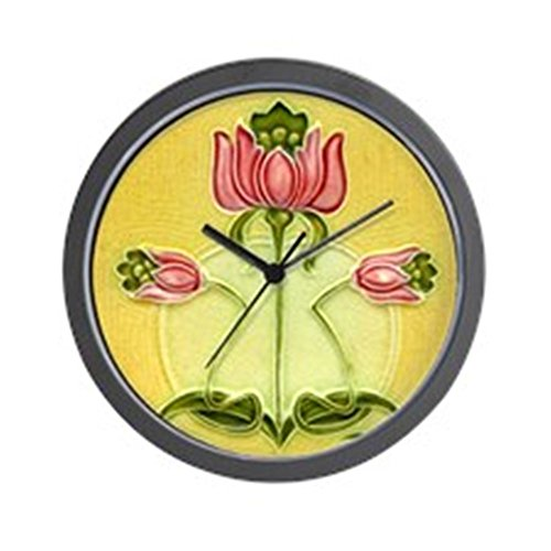 "CafePress - Mission Style Rose Art Tile Wall Clock - Unique Decorative 10"" Wall Clock"