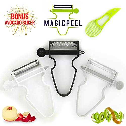 MAGICPEEL 3 Piece Fruit & Vegetable Peelers, Trio Pack of Sharp Standard, Julienne, Double Edge Serrated Professional Stainless Steel Blades with BONUS Avocado Slicer