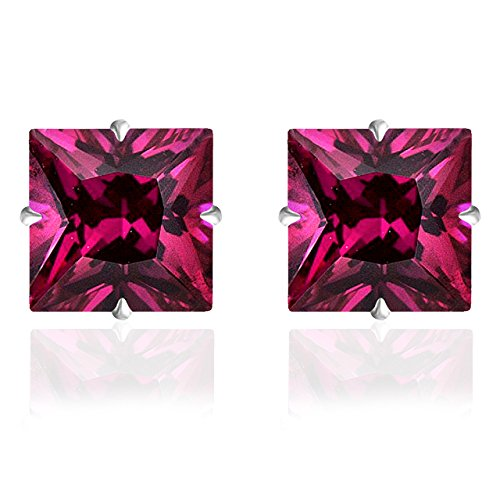 14k Solid White Gold 4mm Princess-Cut Ruby CZ Stud Earrings by Orchid Jewelry ()