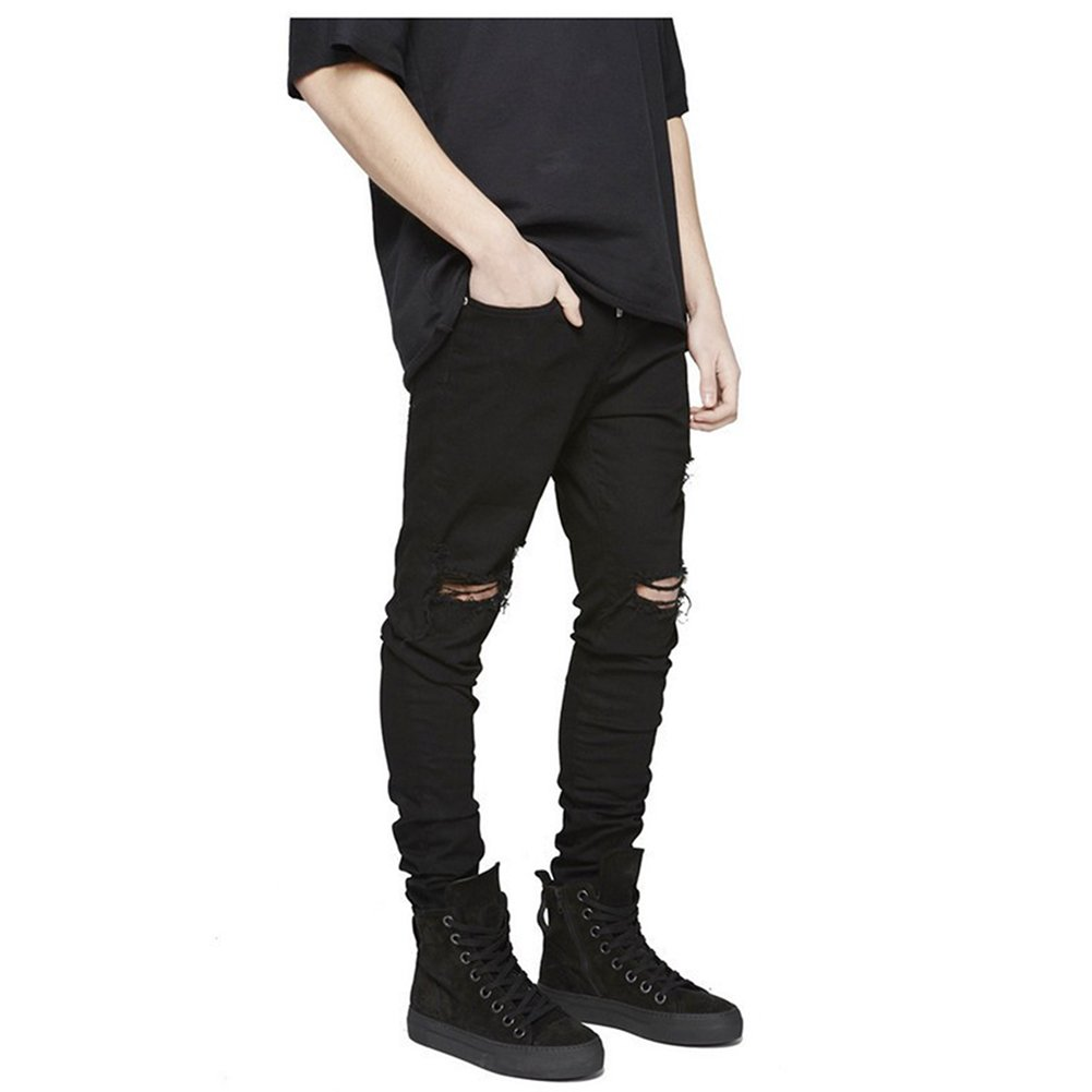LONGBIDA Slim Fit Ripped Jeans Men Hi-Street Mens Distressed Denim Joggers Knee Holes Washed Destroyed Jeans(Black,34) by LONGBIDA (Image #2)