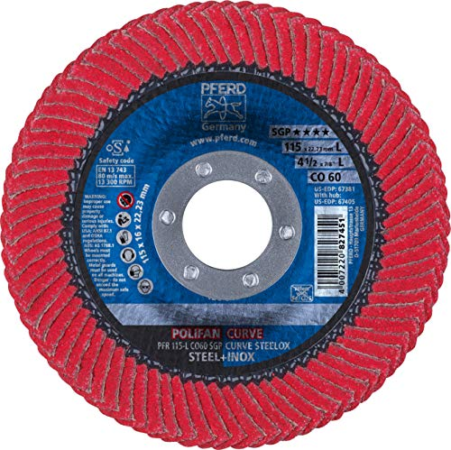 PFERD 67381 Polifan PFR Curve Radial Type Flap Disc, Ceramic Oxide, 4-1/2