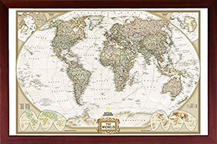 Mounted World Map.Amazon Com Framed Executive World Map With Push Pins 24x36 Dry