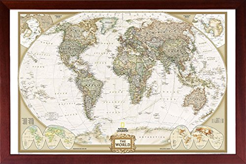 FRAMED National Geographic World Map Executive Style - with Push Pins - 24x36 Dry Mounted in Real Wood Walnut Brown Crafted in ()