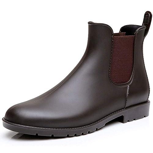 SUADEEX Mujer Botas de Lluvia Goma Bota de Agua Impermeable Zapatos Calzado Al Aire Libre Casual Tobillo Chelsea Botas: Amazon.es: Zapatos y complementos