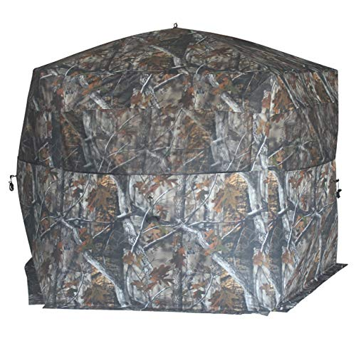 THUNDERBAY 5-Side Hunting Blind, 4 Person Ground Blind for Deer Hunting, 300D Oxford Fabric Deer Blind, JX Hardwood Camo Pattern