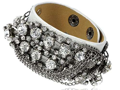Studded White Snap (Alilang White Faux Leather Rhinestone Studded Chain Button Snap Wrap Cuff Bracelet)