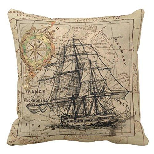 - TORASS Throw Pillow Cover Sailing Antique Europe Map Ship Sail Nautical Transportation Decorative Pillow Case Home Decor Square 20 x 20 Inch Pillowcase