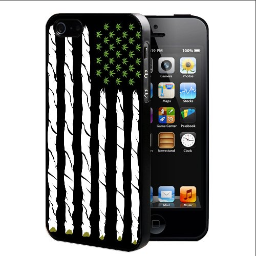 Marijuana US Flag Black And White With Weed Plant Rubber Silicone TPU Cell Phone Case (iPhone 4 4s)