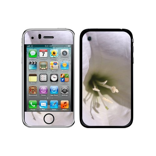 Iphone 3g 3 Gs Flower (Graphics and More Protective Skin Sticker Case for iPhone 3G 3GS - Non-Retail Packaging - White Flower - Lily)