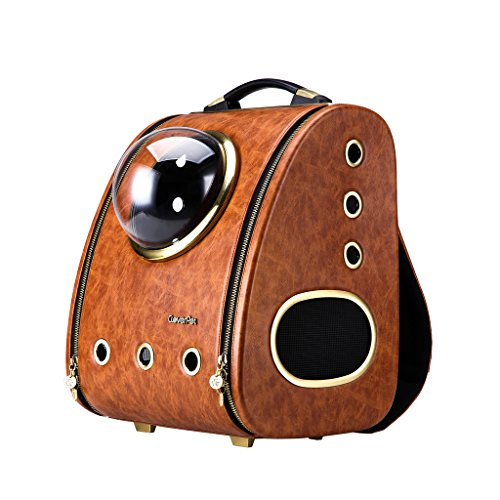 Harness Double Motorcycle Brown H - CloverPet Luxury Pet Travel Bubble Sporty Carrier Backpack for Cats Dogs Puppy,Brown