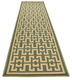 Ancient Greek Style Design Printed Slip Resistant Rubber Back Latex Runner Rug and Area Rugs (Sage Green Aqua Blue, 1'11'' x 7')