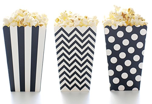 Popcorn Boxes, Black Design Trio (36 Pack) - Movie Theater Style Popcorn Cartons for Dessert Tables & Wedding ()