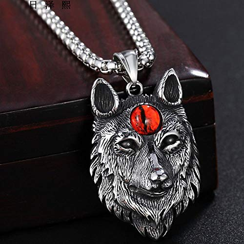 AJZYX Vintage Mens Norse Viking Wolf Head Necklace