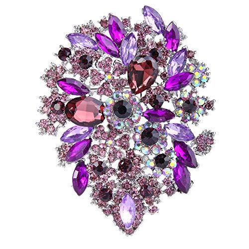 EVER FAITH Austrian Crystal Art Deco Blooming Flower Leaf Cluster Bridal Brooch Purple Silver-Tone Art Deco Flower Brooch