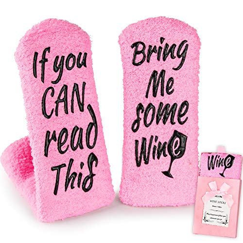 Present Stocking - Wine Gifts for Women Her, Christmas Present Funny Gifts for Mom Grandma Friend, Birthday Gift Ideas, If You Can Read This Bring Me Some Wine Socks, Stocking Stuffers Wine Accessories Gift Boxes - Pink