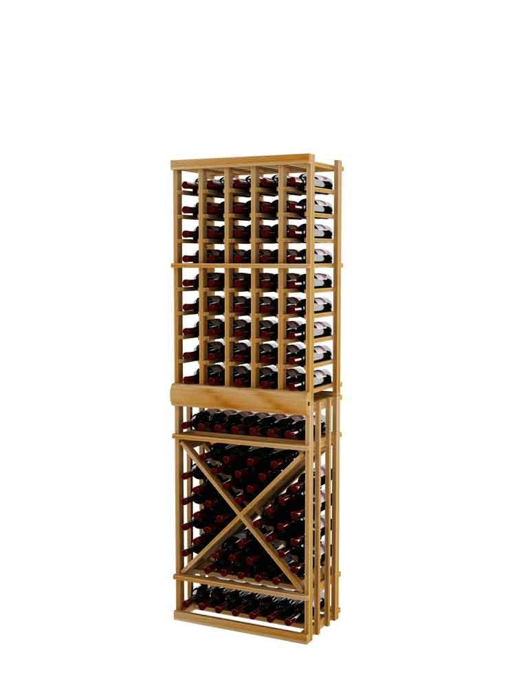 Vintner Series Wine Rack - Individual Bottle Wine Rack with Open Diamond Cube for 111 Bottles - 6 Ft - Premium Redwood with Unstained
