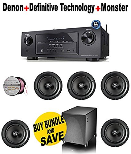 Denon AVR-S710W 7.2 Channel Full 4K Ultra HD A/V Receiver with Bluetooth and Wi-Fi + 5 Definitive Technology - DT8R + Definitive Technology - PS1000BK + Monster Cable - PLATXPMS50 Bundle by Denon