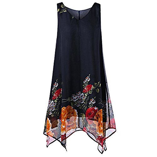 KCatsy Plus Size V-Neck Sleeveless Chiffon Floral Handkerchief Dress Black]()