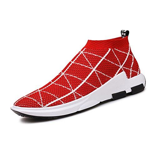 KONHILL Herren leichte Casual Walking High Top Söckchen Schuhe Breathable Knit Sneaker 806 Rot