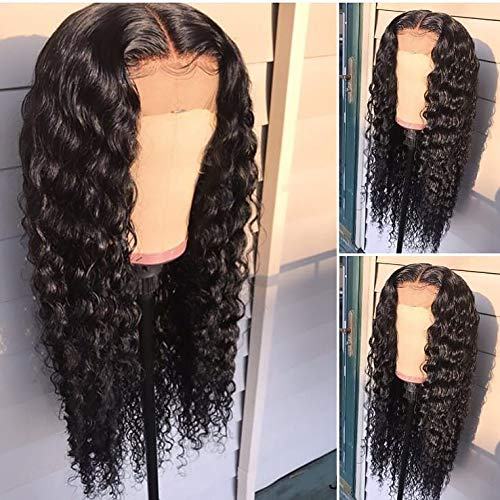 Glueless Lace Front Wigs Natural Deep Curly Synthetic Lace Wigs For Women With Baby Hair Black Color Natural Hairline Heat Resistant Fiber Hair Half Hand Tied 24 Inch