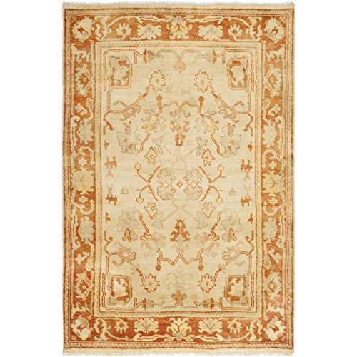 Safavieh Oushak Collection OSH122A Hand-Knotted Ivory and Rust Wool Area Rug (4' x 6')